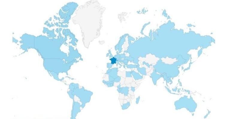Carte de la provenance géographique des visiteurs du site